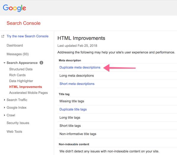 Duplicate meta descriptions in Google Search Console