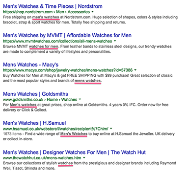 Google Search Results with keywords in bold