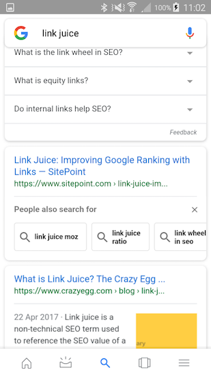 Related queries in snippet after click