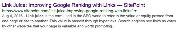 Search snippet pre click