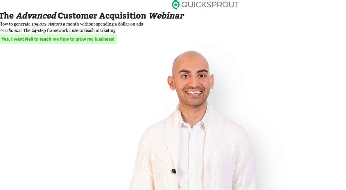 Example webinar landing page with Neil Patel