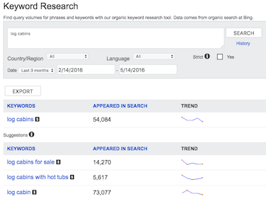 Bing Webmaster Tools Keyword Research Screenshot
