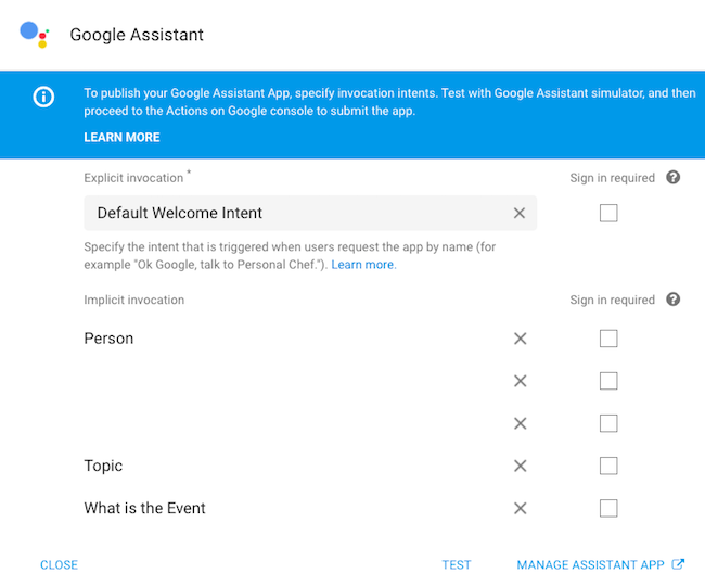 DialogFlow Google Assistant integration