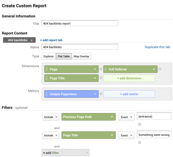 Google Analytics custom report to track 404s