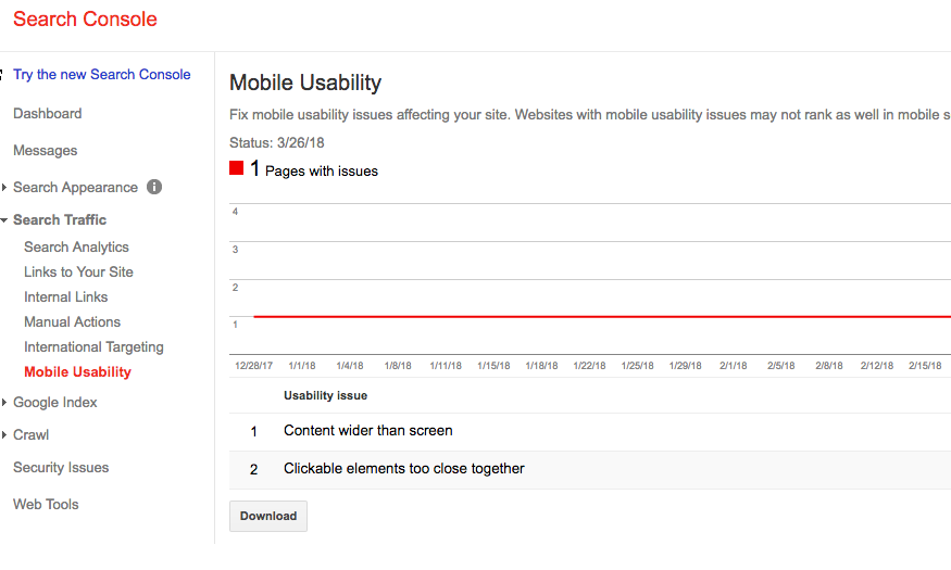Mobile Usability Issues identified on Google Search Console