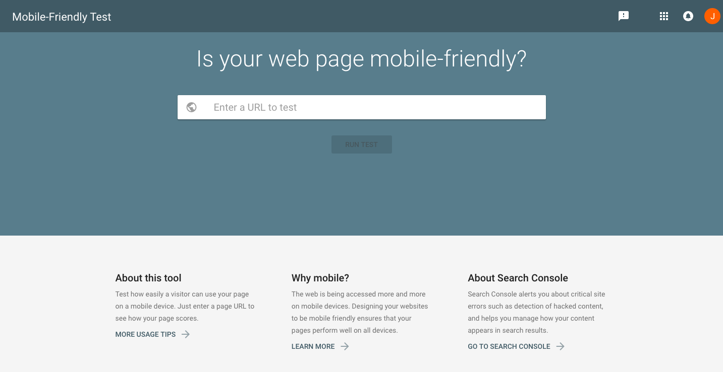 Google Mobile Friendliness Test page
