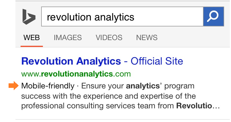 Mobile friendly indication in Bing Results