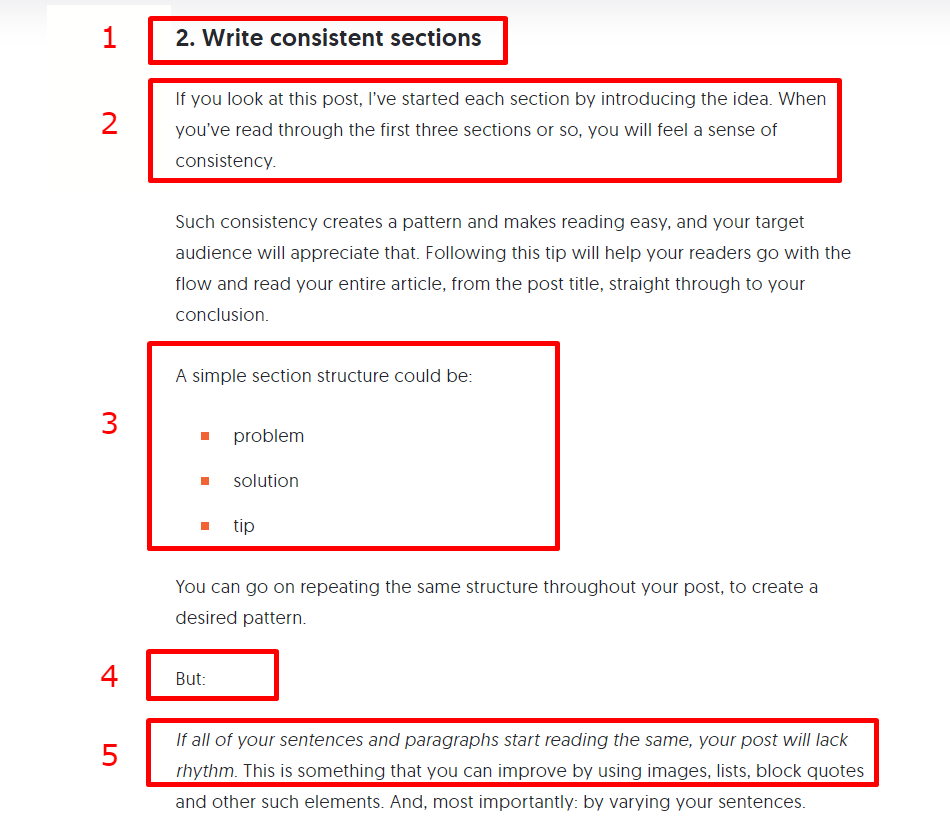 Structure content for readability