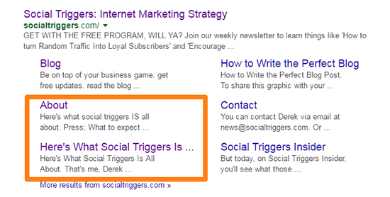 Social Triggers search snippet with sitelinks