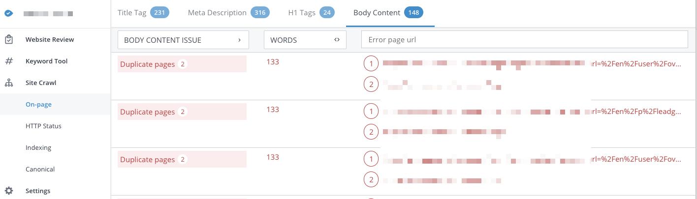 WooRank site crawl duplicate content