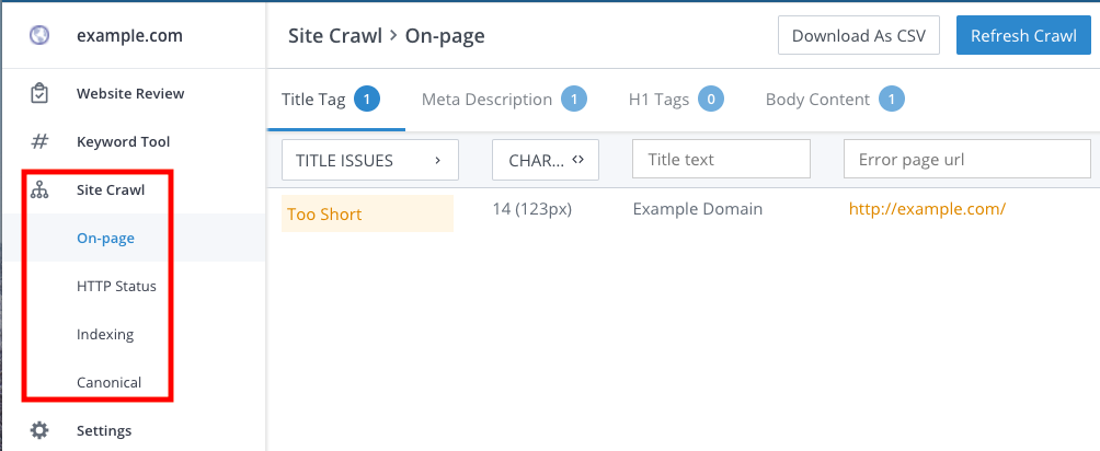 Site Crawl nested navigation