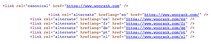 WooRank hreflang tags in action