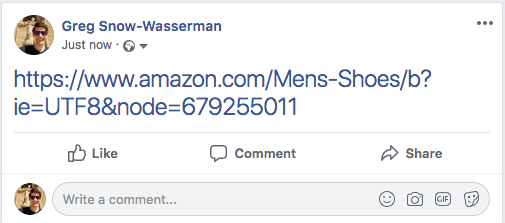 Generic URL shared on Facebook
