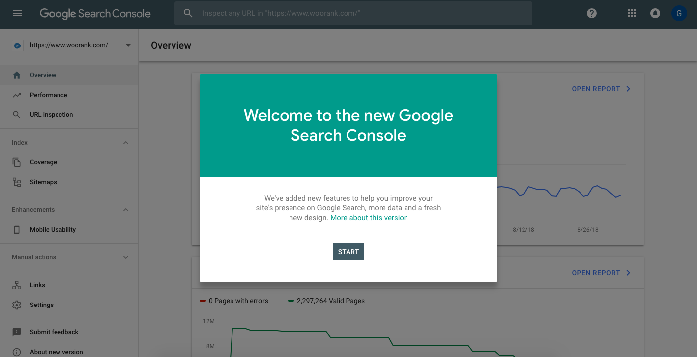 Welcome message for new Google Search Console