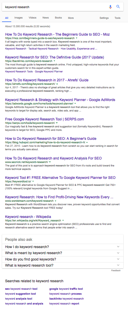 Search results for keyword research demonstrating informational intent