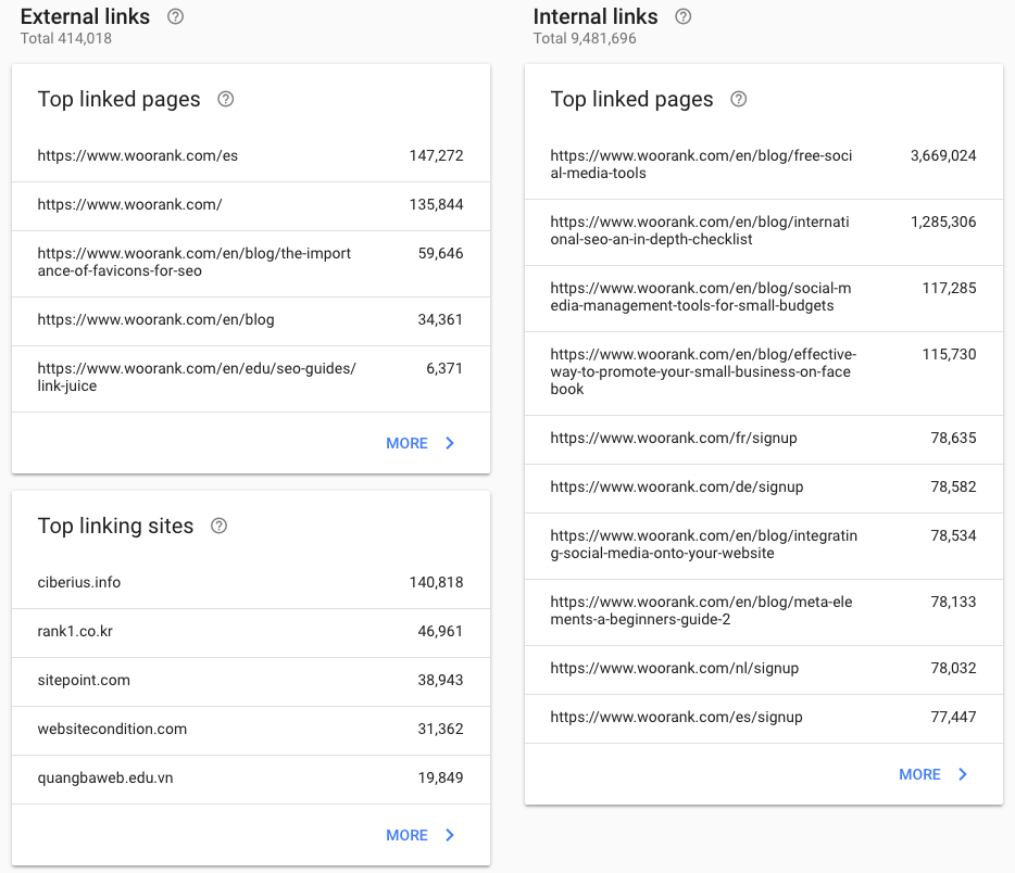 New Search Console links report