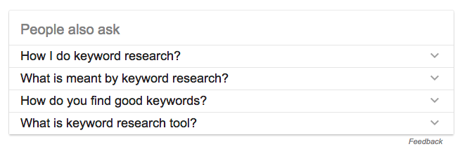 People also ask results for keyword research