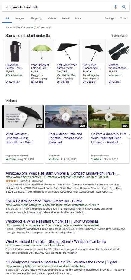 Search results for wind resistant umbrellas demonstrating transactional intent