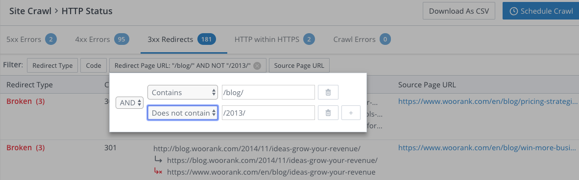 WooRank Site Crawl filtering data