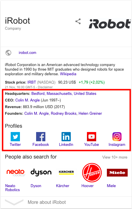 iRobot Google knowledge graph