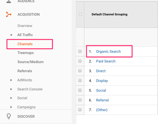Organic search traffic in Analytics