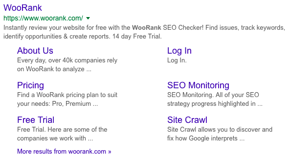 WooRank sitelinks in SERP