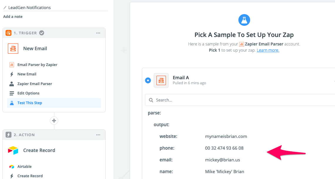 See LeadGen data from Email Parser in Zapier