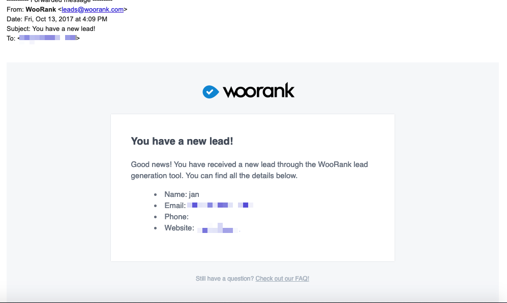 Email from WooRank LeadGen tool in inbox