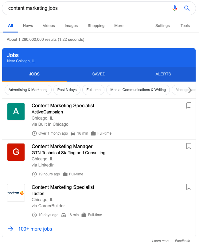 Google Jobs SERP feature and service