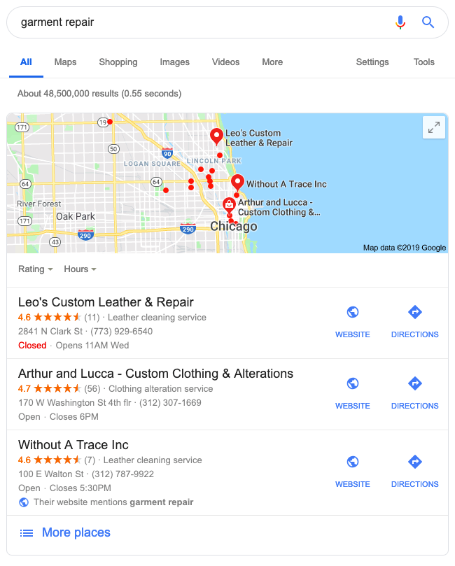 Google local pack feature