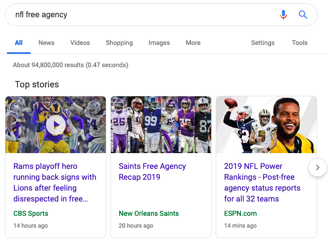 Google top stories carousel