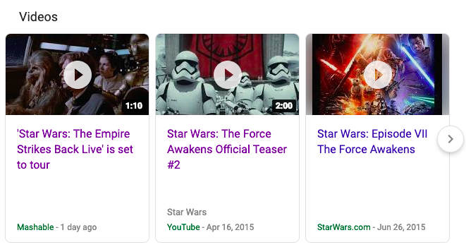Video carousel SERP feature