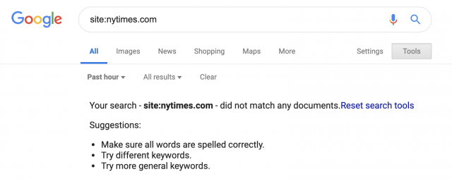 Google indexing bug New York Times