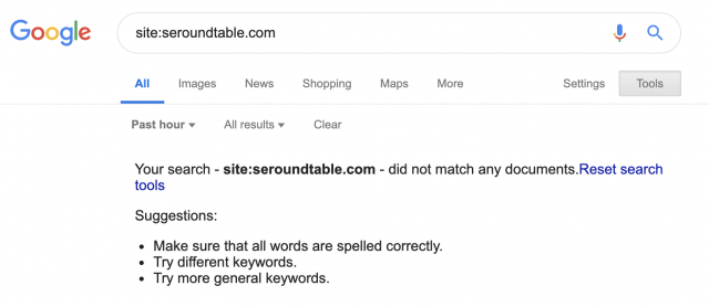 Google indexing bug for SERoundtable