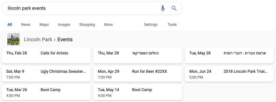 Local events SERP feature