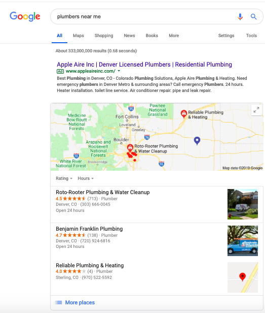 Local search results in SERPs