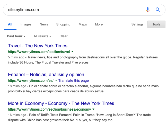 New York Times results from last hour in SERP