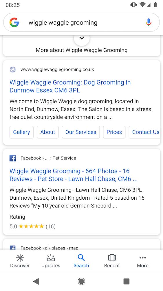 Default icon favicon in search results