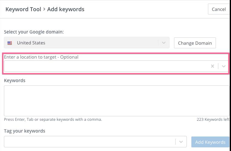 Add location to keyword