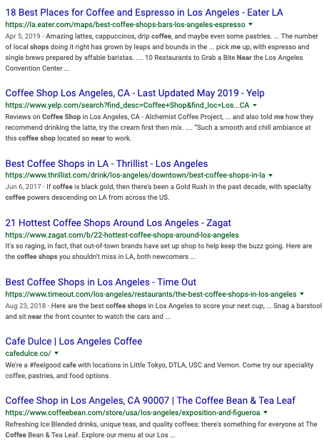 Local organic results for keywords in Los Angeles