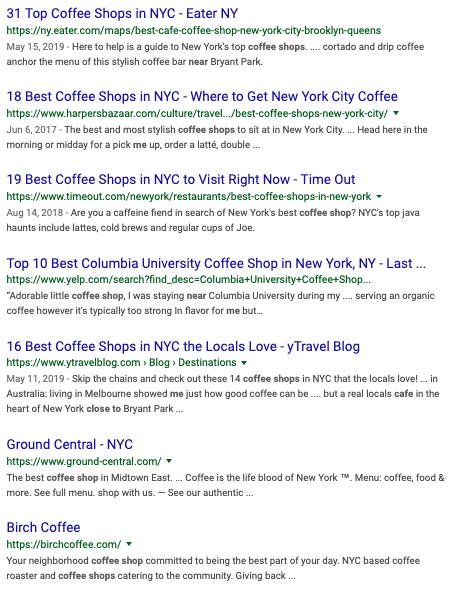 Local organic results for keywords in New York