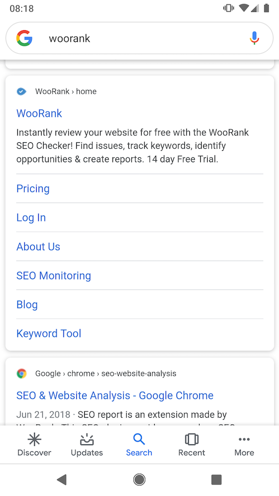 WooRank favicon appearing in mobile search results