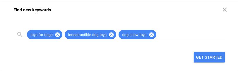 Find new pet care keywords in Google Keyword Planner