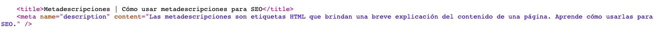 Etiqueta de meta descripción vista en código fuente