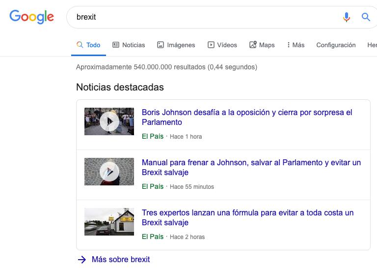 Noticias destacadas de Google