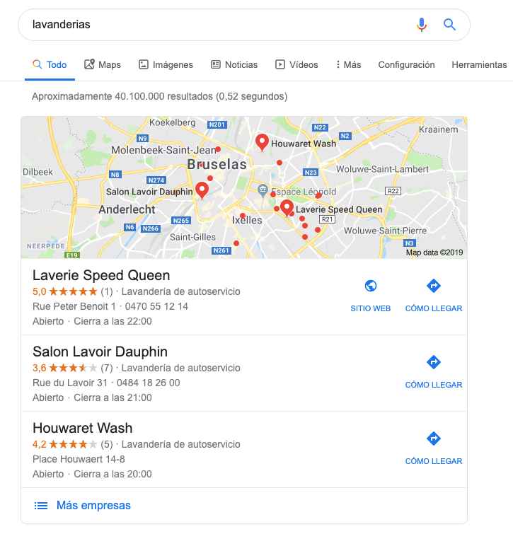 Pack local de Google SERP