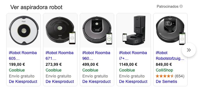 Aspiradora robot serp google