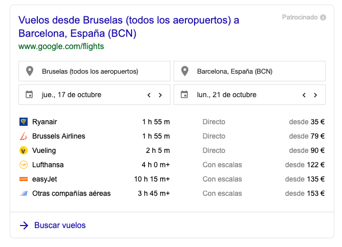 Google Flights results SERP feature