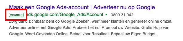 Google Ads result in SERP