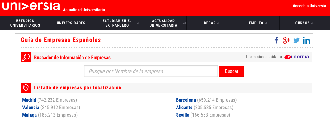 GuíaEmpresas Universia Local Spanish Business Listing Site